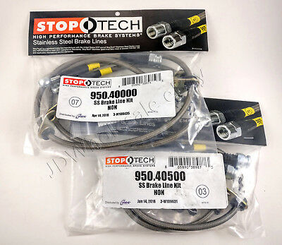 Stoptech Rear Stainless Braided Brake Lines for Civic Del Sol Integra 950.40500