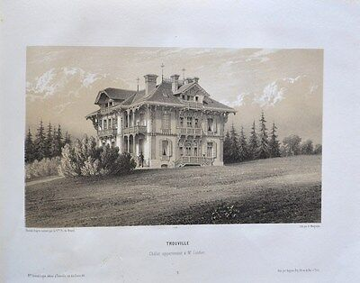 Sincere Lithography In Two Tones 19th Trouville Chalet Belonging To M Art Prints String Tailpiece Reputation First