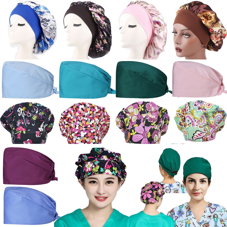 3 Pieces Scrub Hat Bouffant Cap Adjustable Bouffant Turban Cap for Women Men