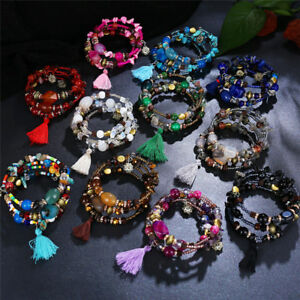 Boho-Multi-layer-Wrap-Colorful-Agate-Beaded-Tassel-Bracelet-Natural-Stone-Bangle