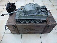 Torro 1/16 RC German Tiger 1 IR Tank 2.4ghz metallo grigio presto edizione scatola in legno