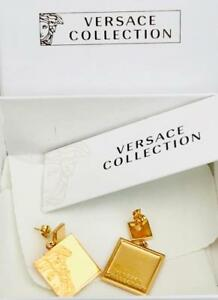 Versace-Collection-Gold-Tone-Medusa-Drop-Earrings-Boxed-New-Perfect-Gift