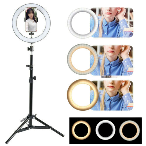 LED Ring Light Video Dimmable With Tripod Stand Selfie Make up Lamp holder Flash