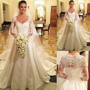 Long-Sleeves-Wedding-Dresses-Bridal-Gowns-White-Ivory-Lace-Top-A-Line-With-Train