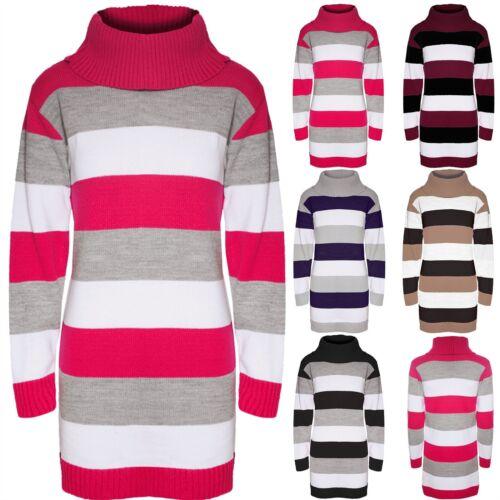 Da Donna con 3 Color Block Stripe Lavorato A Maglia Roll Maglione a cappuccio Tunica Abito Top
