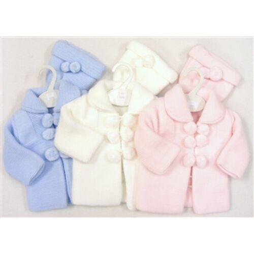 HAT PRAM SET BABY GIRL PINK-WHITE SPANISH KNITTED POM POM CARDIGAN JACKET-COAT
