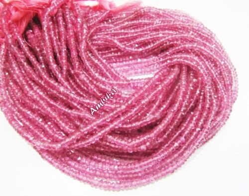 Pink Topaz Rondelle Faceted Beads 5mm Strand 13 inches Semi precious