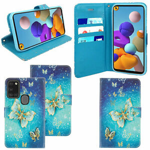 Wallet-Flip-Case-For-Galaxy-A50-A51-A71-A21-Genuine-Leather-Cover-Butterfly-Gold