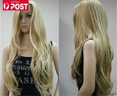 Women Blonde Long No Bangs Wavy Cosplay Party Heat Resistant Lady Full Hair Wigs