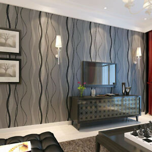 Black grey wave striped wallpaper stripe curve feature - Feature wall ideas living room wallpaper ...