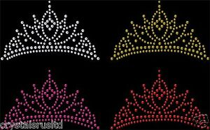 Iron-On-Tiara-Crown-Rhinestone-Diamante-Transfer-Hotfix-Crystal-Motif-Applique