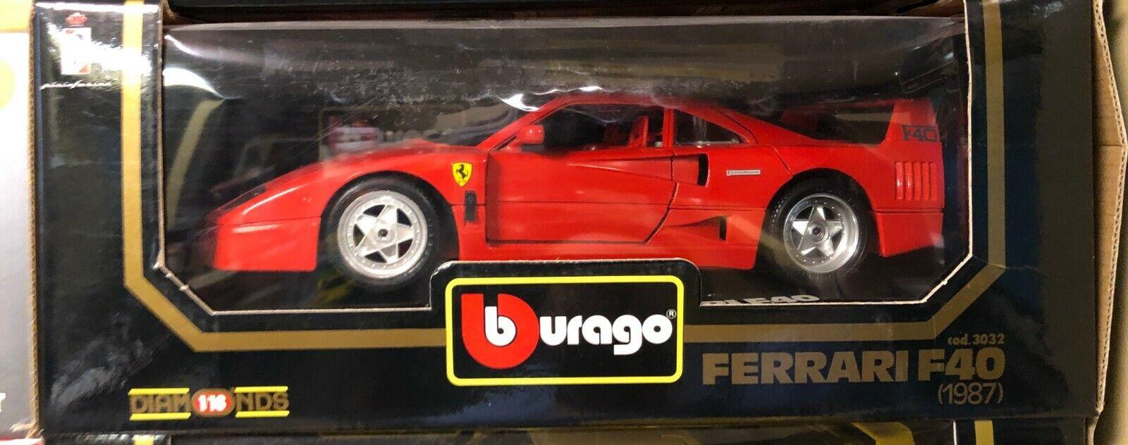 FERRARI F40 red CORSA RED 1 18 by BURAGO 3032 RARE OLD MODEL BRAND NEW IN BOX