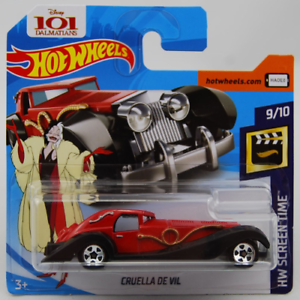 2018 Screen Time 9//10 Diecast Car 101 DALMATIONS Cruella de Vil HOTWHEELS