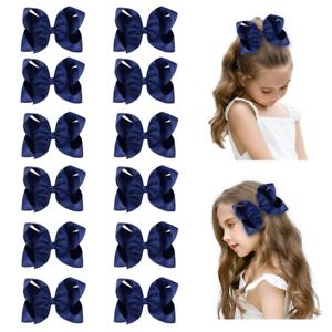 """DEEKA 12 PCS 6/"""" Big Hand-made Grosgrain Ribbon Hair Bow Alligator Clips Hair for"""
