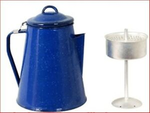 Coffee-Pot-Enamel-8-Cup-2-Lt-Camp-Kettle-Percolator-Camping-Outdoor-BBQ-Picnic