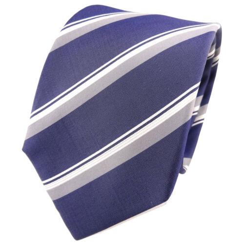 TigerTie Seidenkrawatte blau dunkelblau grau silber gestreift Krawatte Seide