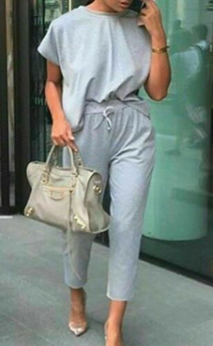 Details about  /Womens Ladies Short Sleeve Boxy Lounge Wear Tracksuit Casual Two Piece 8-14 SIze
