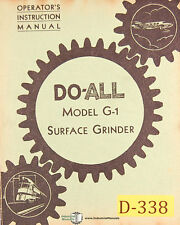 Doall G 1 Surface Grinder Operations And Parts Manual 1946