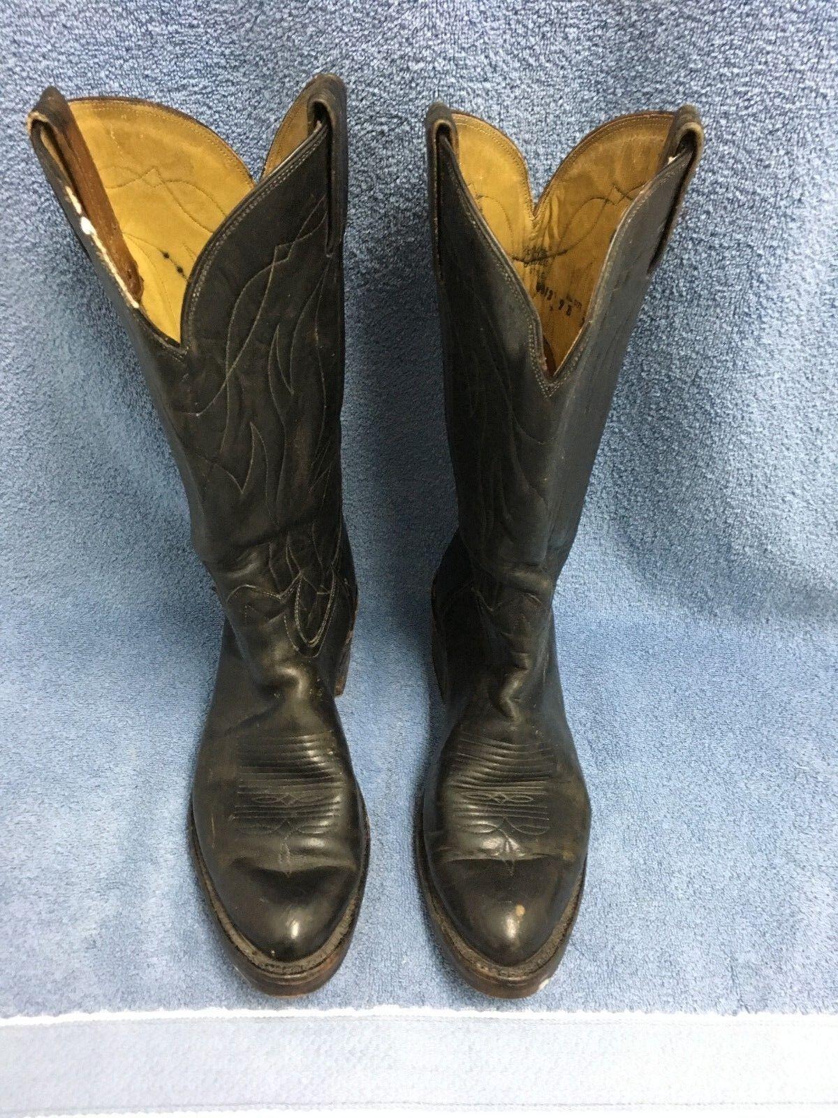 TONY LAMA 4013 Para Hombres Cowboy Western nos botas De Trabajo D envejecido Negro GUC