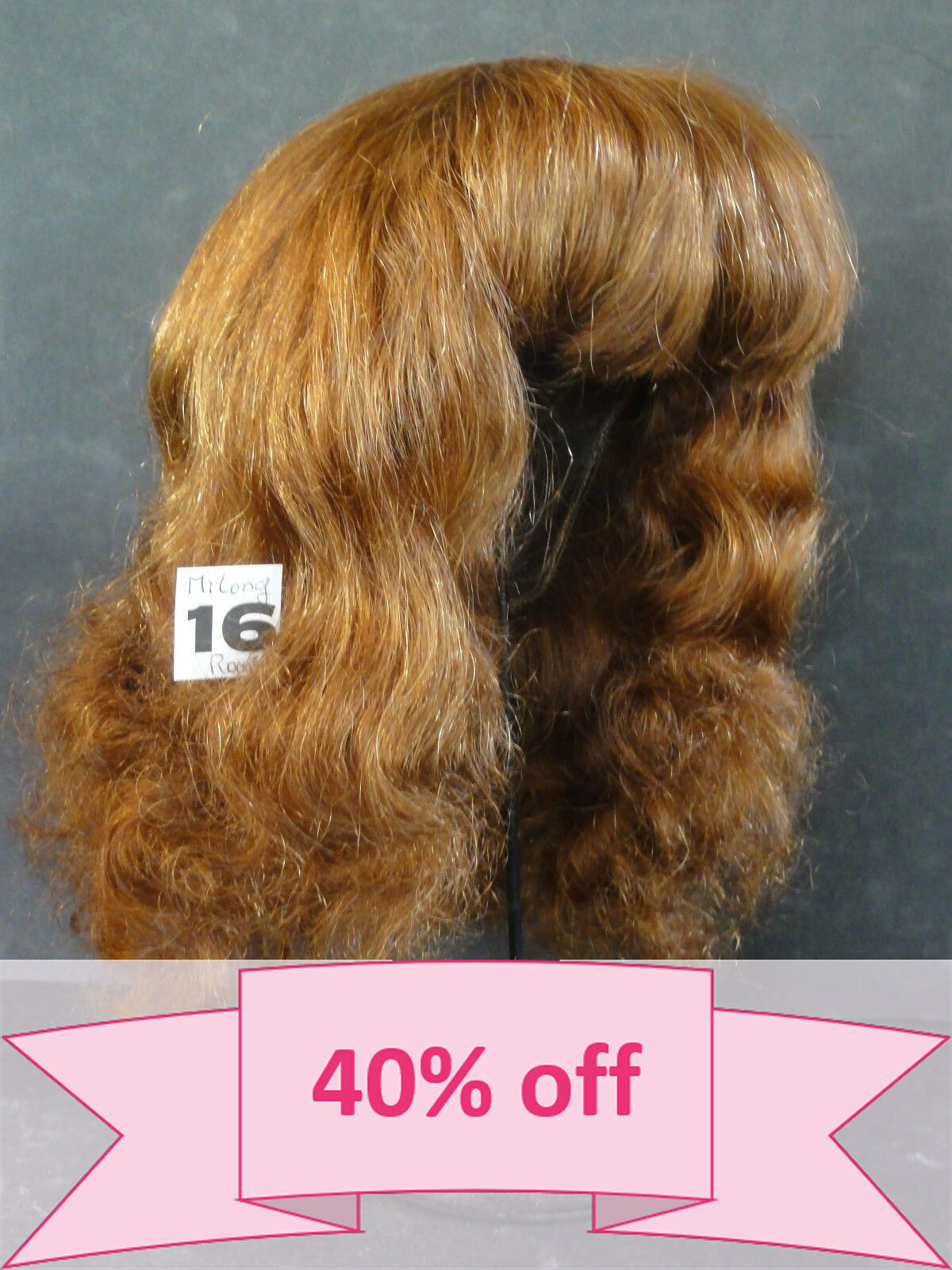 40% OFF - Human Hair DOLL WIG size 19.5    49.5 cm . Mi-Long rosso-Marrone hair.