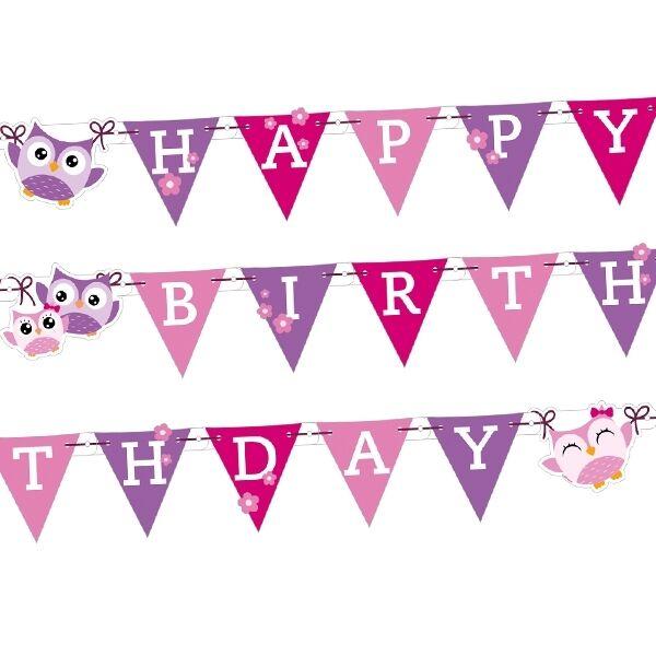 Süße Eule Buchstabenkette, Happy Birthday, ca. 1,80m, Eulen Deko Party