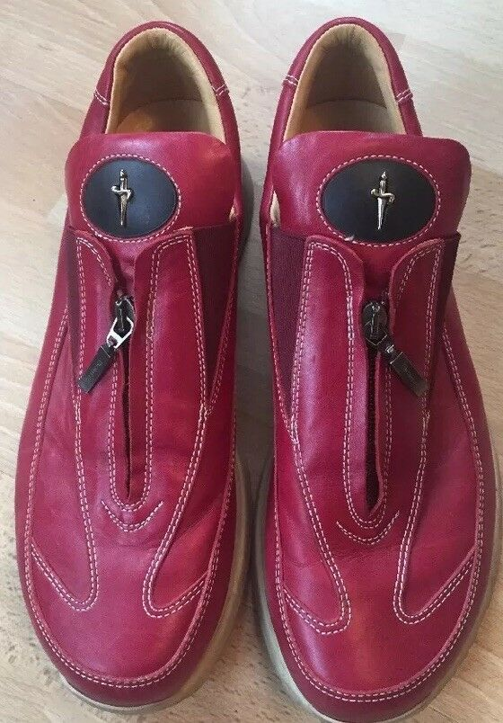 PACIOTTI 4US RED SNEAKERS SHOES LEATHER SIZE 7 8