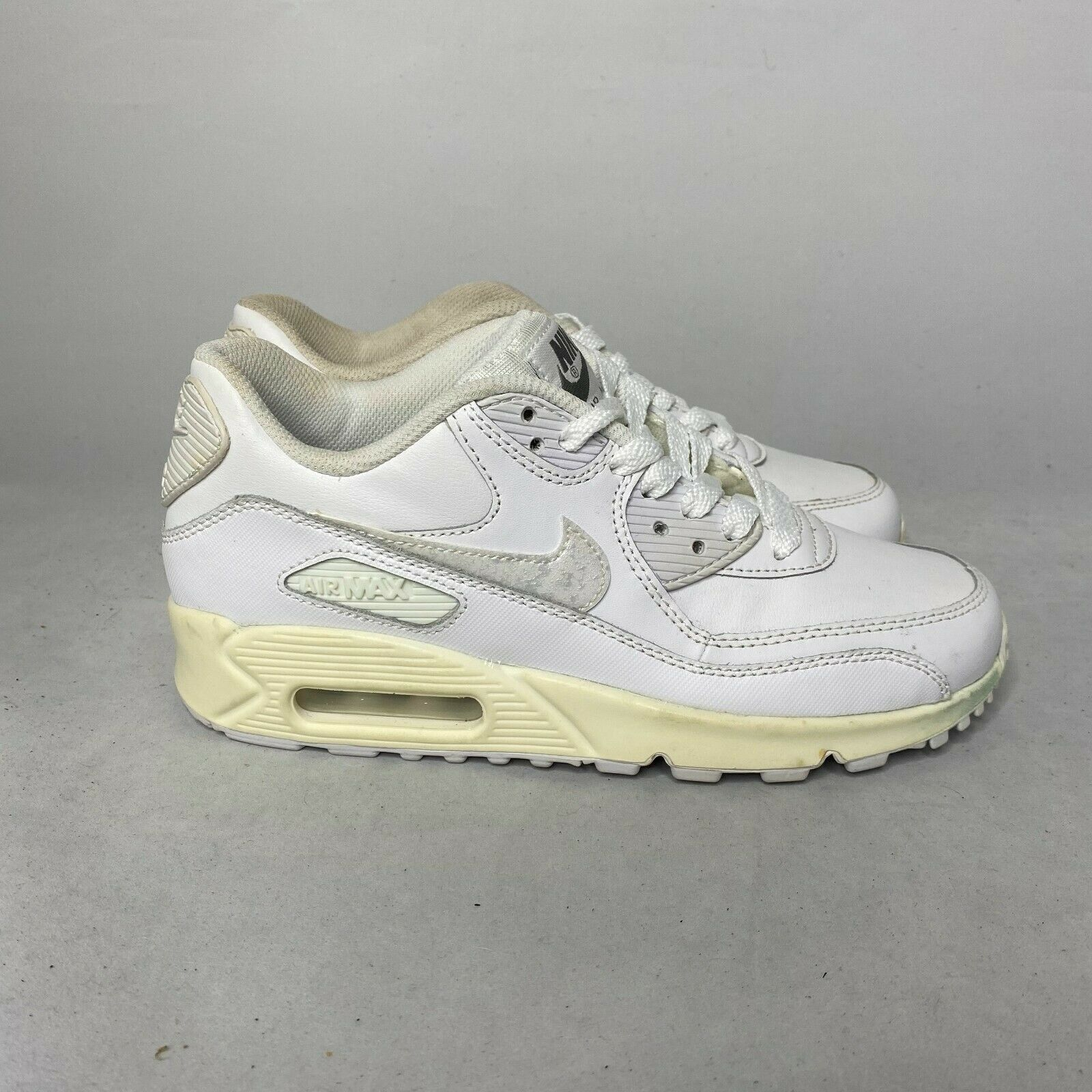 Nike Air Max 90 Leather GS Big Kids 724821-100 White Running Shoes ...