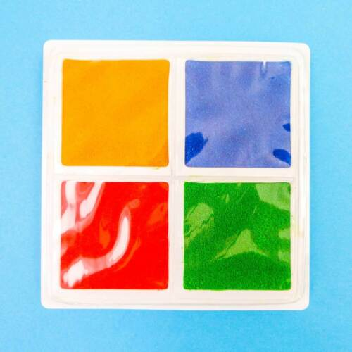 Yellow Green Blue Red For Stamping Printing... Four Part Paint Pad Sponges