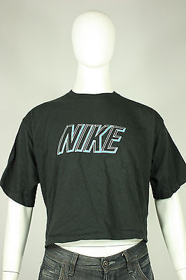 Sportivo Vintage Nike 80's T-shirt Xl Taglio Grigio Tag Made In Usa Cotone Nero
