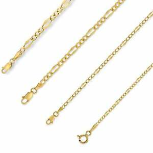 Solid-14K-Yellow-Gold-Italian-Figaro-Stamp-Link-Chain-Necklace