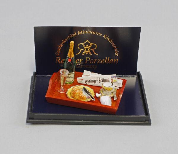 "2019 Moda 9911008 Reutter Bambole Tubetti-miniatura Spumante-colazione ""porcellana-iniatur Sekt-frühstück"" Porzellan"