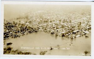 Evansville-Indiana-IN-Old-1937-Flood-Photograph-Vanderburgh-County-Aerial-Photo