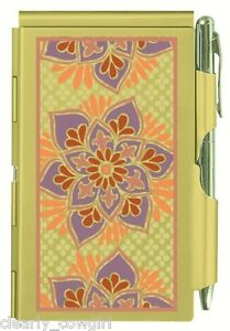 #8990 -- WELLSPRING GOLDEN FLORAL FLIP CASE NOTE PAD WITH PEN -WOW!
