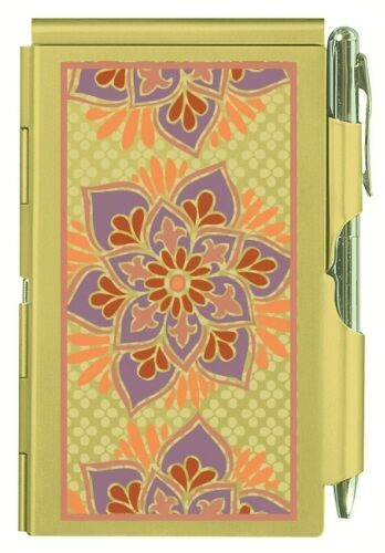 WOW! WELLSPRING GOLDEN FLORAL ALUMINUM FLIP NOTE CASE PAD WITH PEN #8990