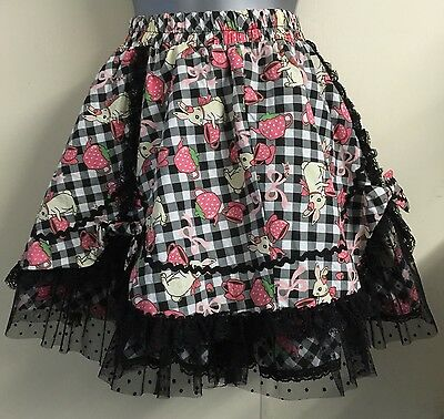 New RQBL Gothic Red QueensMad Hatters Tea Party  Mini Skirt-Alicein Wonderland-