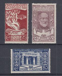 Italy Sc 140-142 MNH. 1922 Giuseppi Mazzini, cplt set, well centered for issue
