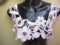 15 Front Or Back Neckline Bodice Bib Flower Applique - Silver Gray