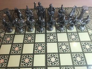46cm-Folding-Chess-backgammon-Decorative-Board-Roman-Bronze-brass-finish-leather