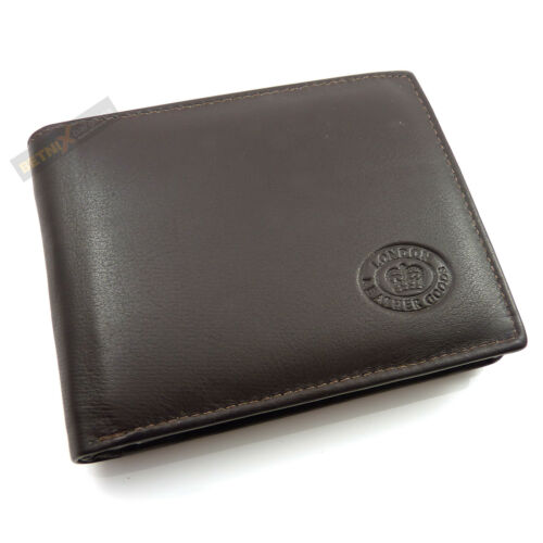 Gents Mens LEATHER WALLET good quality 9 CREDIT CARD SLOTS Black Brown NEW
