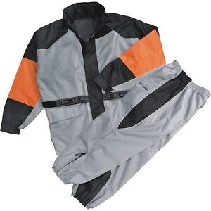 Men-039-s-Silver-Black-Orange-Rain-Suit-Water-Resistant-w-Reflective-Piping-SH2217