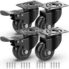 4 X Heavy Duty Swivel Castor Wheels Trolley 50mm Furniture Casters Rubber 200kg