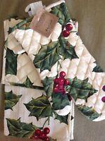 April Cornell Tea Towel Pot Holder Oven Mitt Christmas Holly 100% Cotton