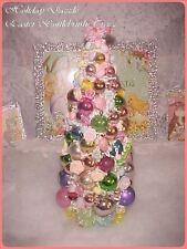 Beautiful EASTER Bottlebrush Tree Bunny & Chick Vtg Mercury Glass Xmas Ornaments