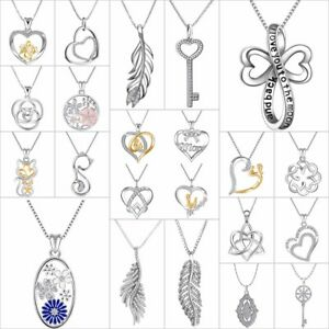 Fashion-Zircon-Pendants-Heart-Charms-Jewelry-Fit-Women-925-Silver-Necklace-Chain