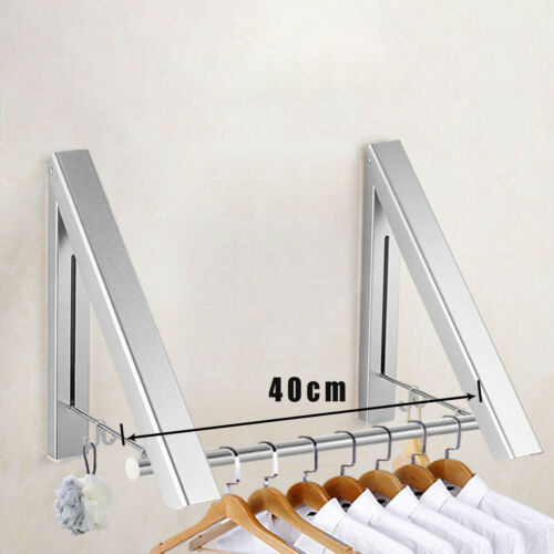 Wall Mounted Clothes Rail Drying Rack Bathroom Mounting Foldable Holder Bracket