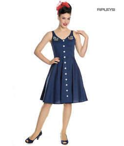 Hell-Bunny-Vintage-50s-Pin-Up-Dress-Navy-Blue-SELA-Nautical-Anchors-All-Sizes