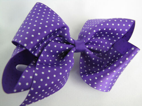 Large 5in Hair Clip Purple Bow with White Dots Metal Clip NWT