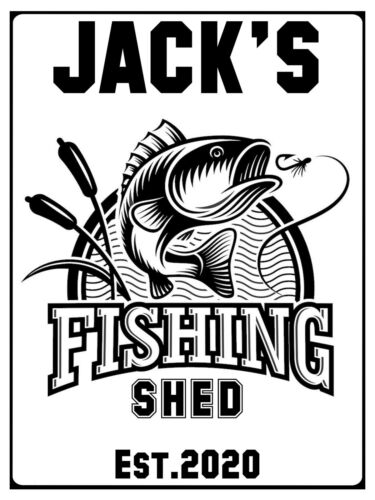 Fishing Metal Aluminium Sign Plaque For House Shed 23x15cm BORN TO FISH FORCED.