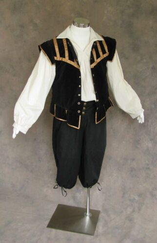 Men/'s Renaissance Outfit Costume Game of Thrones GOT Ren Faire Cosplay Black SCA