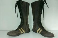 SACHA MADE IN ITALY SZ 8 BRN LEATHER MID CALF SNEAKER BOOT WOMEN LACE UP/ZIPPER